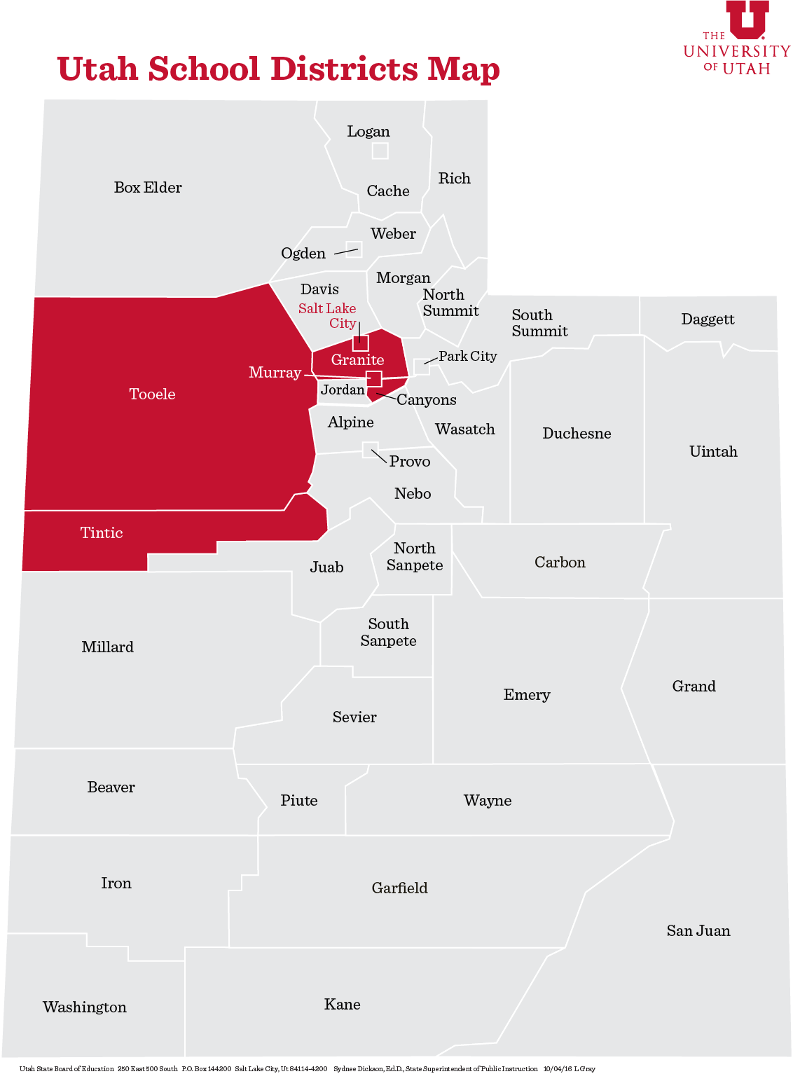 Utah School District map showing University of Utah's reach