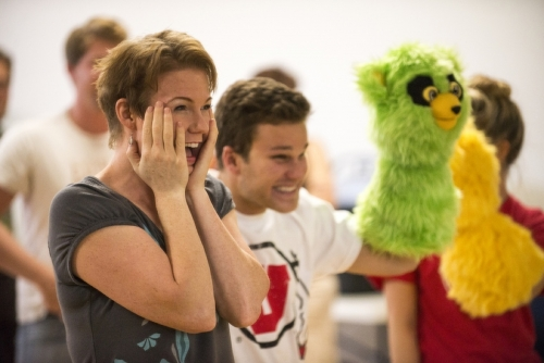 Puppeteer Jennifer Barnhart with student Gregory Neff and his partially completed Bad Idea Bear puppet.