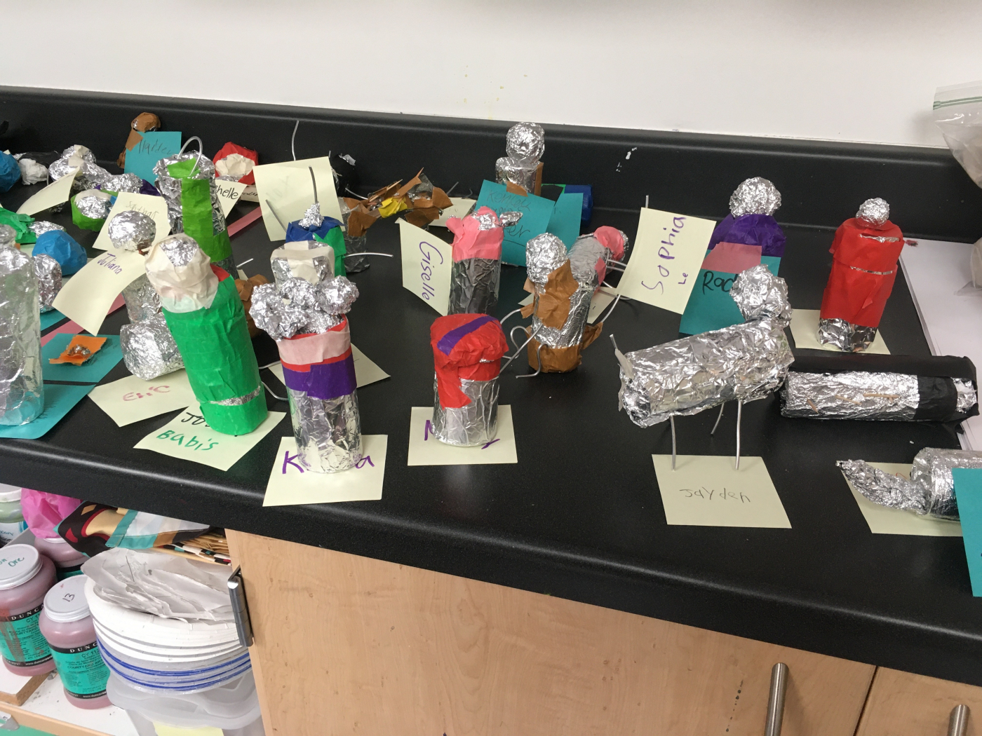 Sculptures by Laura Decker's Monticello Academy students, prior to distance learning